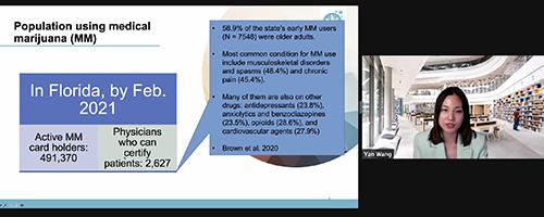 Dr. Wang on Zoom for a chronic pain and medical marijuana webinar