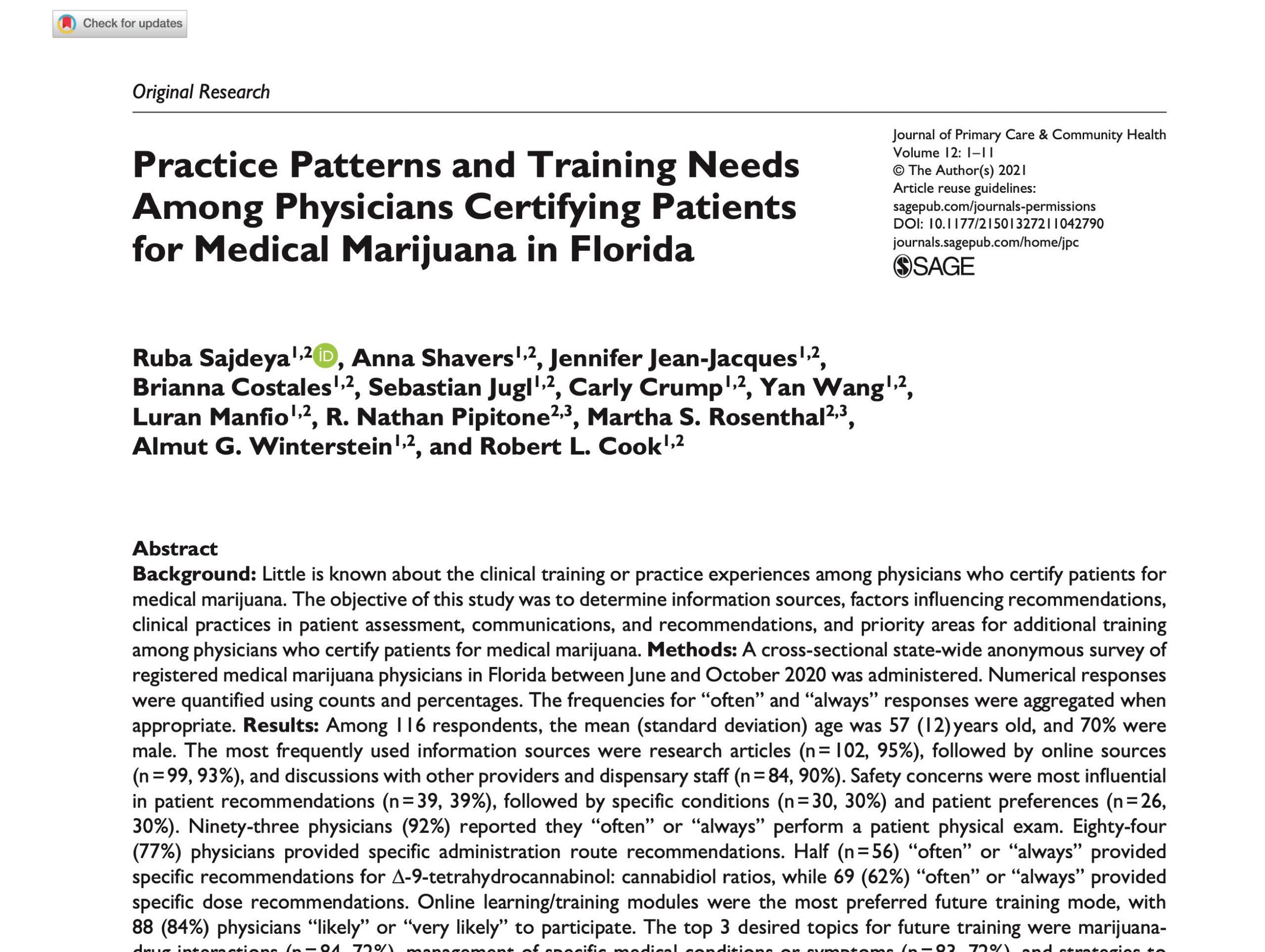 Screenshot of Provider Patterns and Behaviors Journal Article